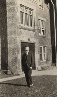 Alex Potter standing in front of Willison Hall