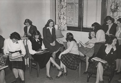 Waterloo College students in girls common room