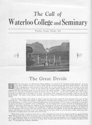 The call of Waterloo College and Seminary, 1932