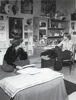 Two students in residence room, Wilfrid Laurier University