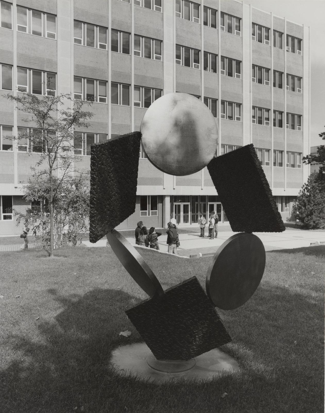 Metal sculpture on Wilfrid Laurier University campus