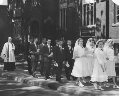 Confirmation class processional at Trinity Evangelical Lutheran Church in Hamilton, Ontario, 1955