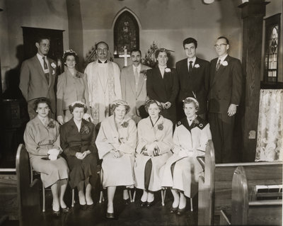 Men and women in Zion English Evangelical Lutheran Church, Sault Ste. Marie, Ontario