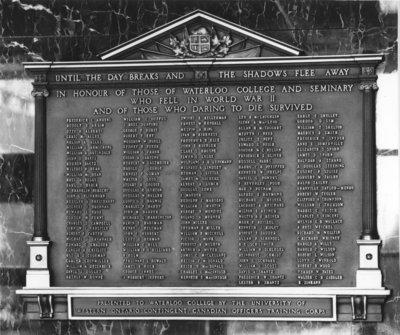 World War II plaque, Wilfrid Laurier University