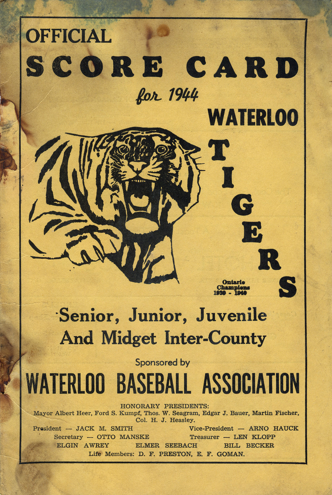 Official scorecard for 1944 Waterloo Tigers senior, junior, juvenile and midget inter-county : sponsored by Waterloo Baseball Association