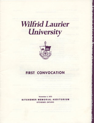 Wilfrid Laurier University fall convocation 1973 program