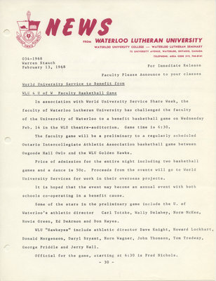 034-1968 : World University Service to benefit from WLU & U of W faculty basketball game