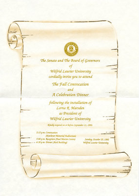 Wilfrid Laurier University 1992 fall convocation ceremony and celebration dinner invitation