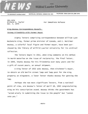 091-1974 : King-Bezeau correspondence reveals strong friendship with former mayor