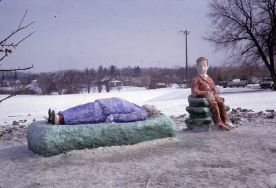 Snow sculpture at Waterloo Lutheran University Winter Carnival 1962
