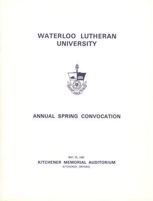 Waterloo Lutheran University spring convocation 1969 program