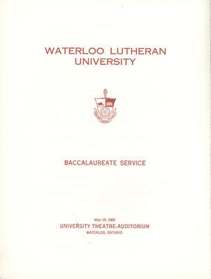 Waterloo Lutheran University baccalaureate service program, spring 1968