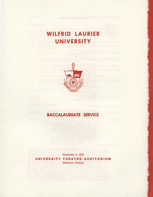 Wilfrid Laurier University baccalaureate service program, fall 1973
