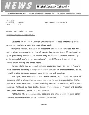 074-1979 : Graduating students at WLU to meet potential employers