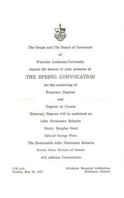 Waterloo Lutheran University convocation invitation, spring 1971