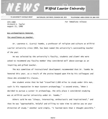 074-1980 : WLU archaeologist honored for excellence as teacher