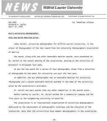 045-1981 : WLU's university photographer wins top North American prize
