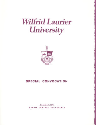 Wilfrid Laurier University Simcoe campus convocation, fall 1976