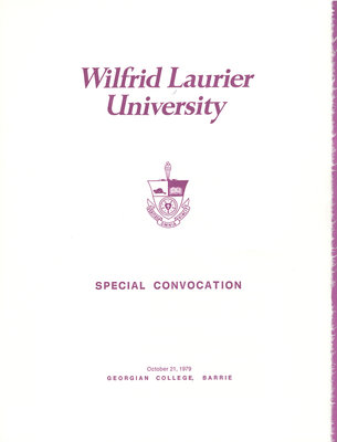 Wilfrid Laurier University Simcoe campus convocation, fall 1979