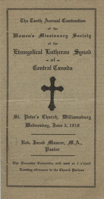 Tenth annual convention of the Women's Missionary Society of the Evangelical Lutheran Synod of Central Canada, 1918
