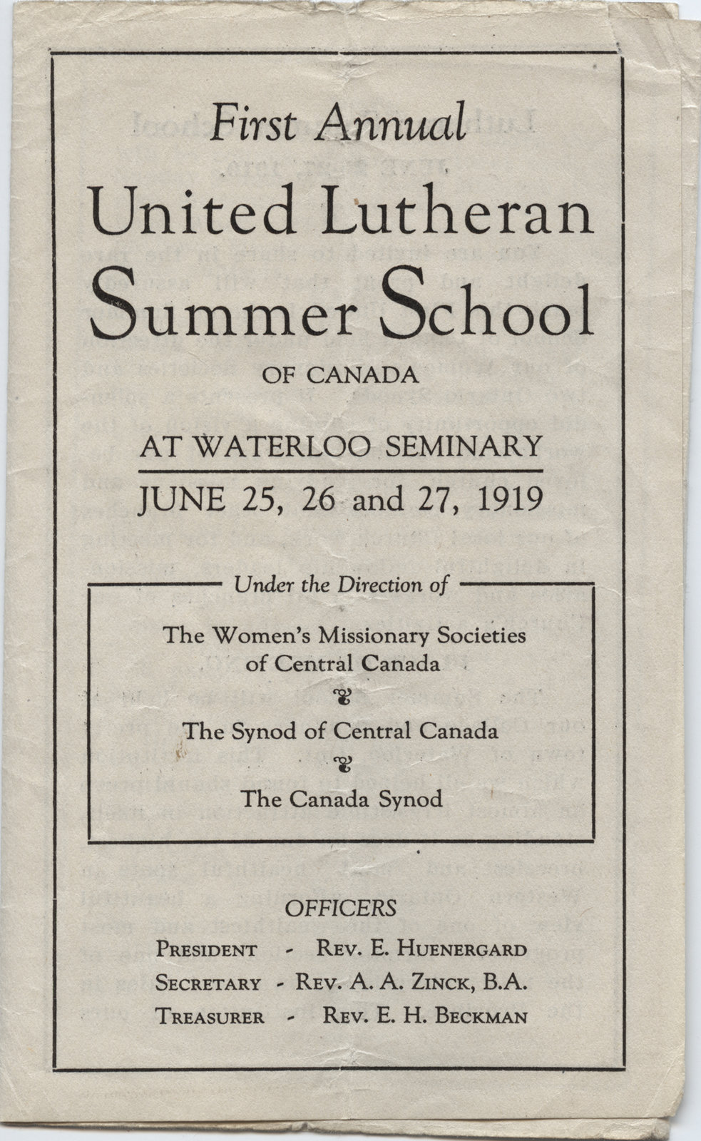 First annual United Lutheran Summer School of Canada promotional brochure, 1919