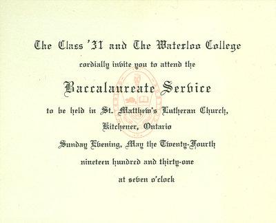 Waterloo College baccalaureate service invitation, 1931
