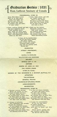 Evangelical Lutheran Seminary of Canada graduation service program, 1931