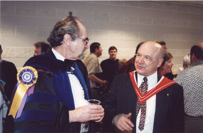 Fred Binding and Art Szabo at spring convocation 2002, Wilfrid Laurier University