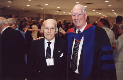 Barry McPherson and Ross Dixon at spring convocation 2002, Wilfrid Laurier University