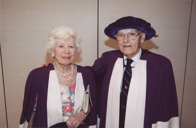 Ross and Doris Dixon at Wilfrid Laurier University spring convocation, June 8, 2002