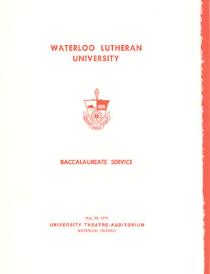 Waterloo Lutheran University baccalaureate service program, spring 1973