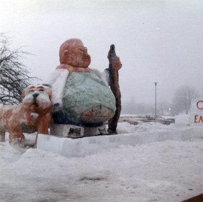 Snow sculpture at Waterloo Lutheran University Winter Carnival 1969