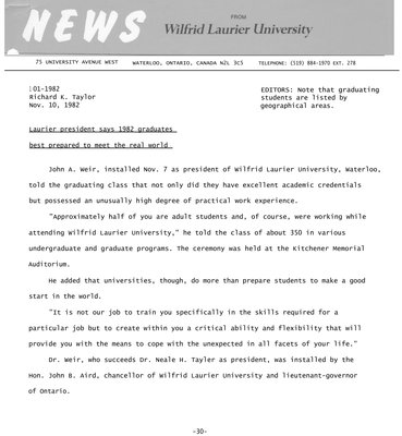 101-1982 : Laurier president says 1982 graduates best prepared to meet the real world