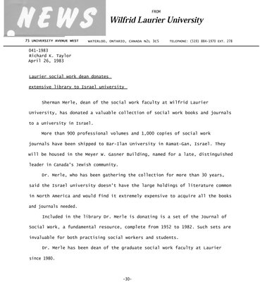 041a-1983 : Laurier social work dean donates extensive library to Israel university