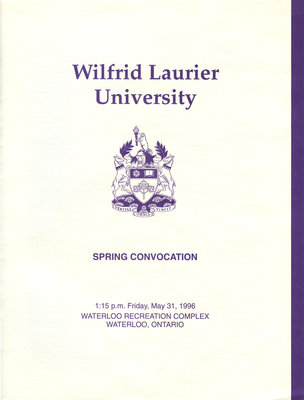 Wilfrid Laurier University spring convocation program, May 31 1996