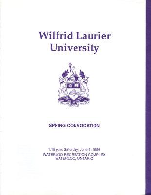 Wilfrid Laurier University spring convocation program, June 1, 1996