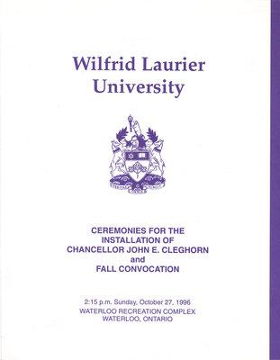 Wilfrid Laurier University fall convocation program, 1996