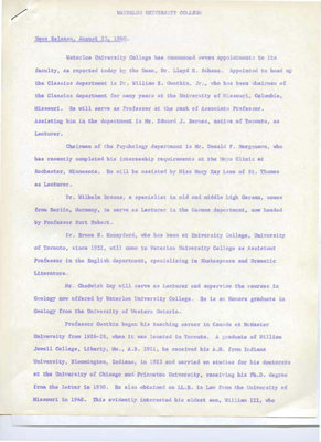 News release : August 23, 1960