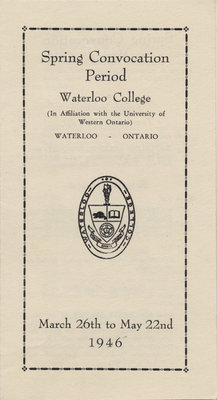 Waterloo College spring convocation period, 1946