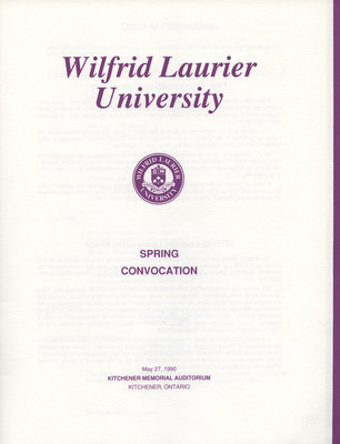 Wilfrid Laurier University spring convocation 1990 program