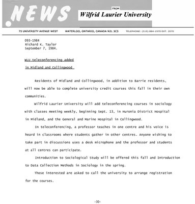 093a-1984 : WLU teleconferencing added in Midland and Collingwood