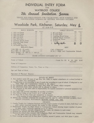Waterloo College Invitation Games individual entry form, 1946