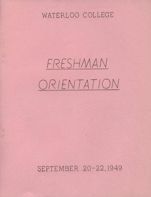 Waterloo College Freshman Orientation booklet, September 20-22, 1949