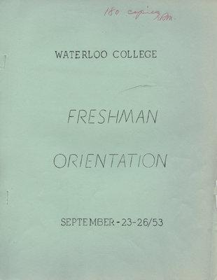 Waterloo College Freshman Orientation booklet, September 23-26, 1953