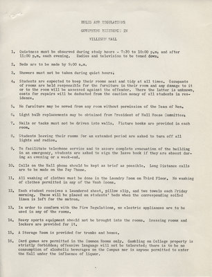 Rules and regulations governing residence in Willison Hall, ca. 1956