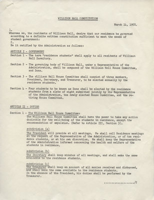 Willison Hall men's residence Constitution, Rules and Regulations and Fire Prevention Measures, 1958