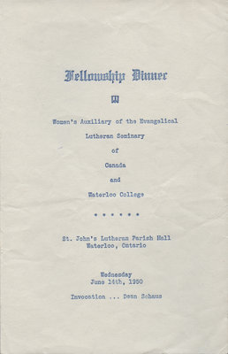 Women's Auxiliary of the Evangelical Lutheran Seminary of Canada and Waterloo College fellowship dinner program, 1950