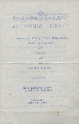 Women's Auxiliary of the Evangelical Lutheran Seminary of Canada and Waterloo College fellowship dinner program, 1954