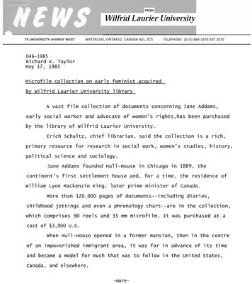 046-1985 : Microfilm collection on early feminist acquired by Wilfrid Laurier University library