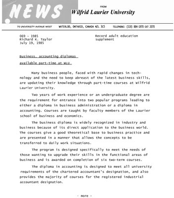 069-1985 : Business, accounting diplomas available part-time at WLU